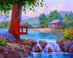 Картина раскраска по номерам 50x65 Качеля над водой