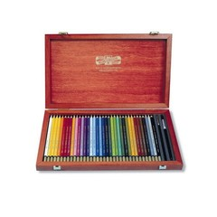 Набор художественных акварельных карандашей MONDELUZ 36 цветов и 2 кисточки в подарочном деревянном ящике