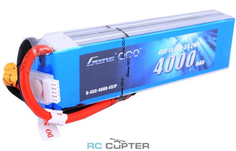 Аккумуляторная батарея Gens Ace 4000mAh 14.8V 45C 4S1P Lipo Battery Pack Deans (T-Plug)
