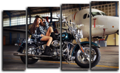 "Модульная картина ""Девушка и мотоцикл harley davidson"""