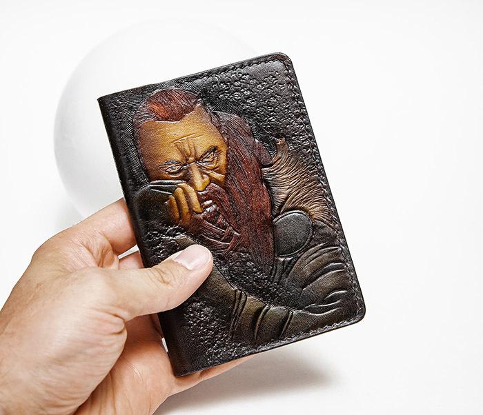 BC228 Обложка из кожи ручной работы «Викинг» фото 05