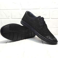 Мужские мокасины туфли дерби стиль кэжуал Luciano Bellini 91754-S-315 All Black.