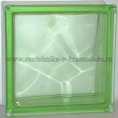 Стеклоблок зелёный окраска в массе  Vitrablok  19x19x8