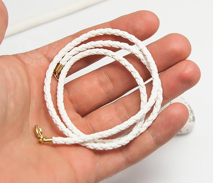 PL283-2 Белый плетеный шнурок из искусственной кожи премиум (55 см) фото 05