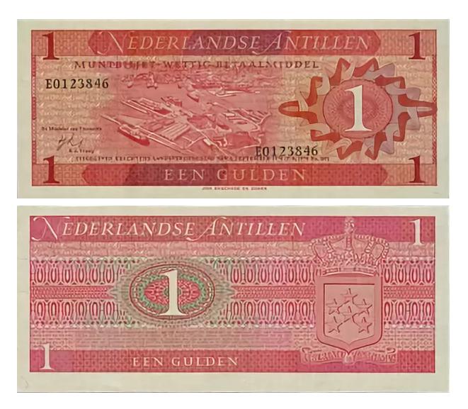 Банкнота 1 гульден 1970 год, Нидерландские Антилы. UNC