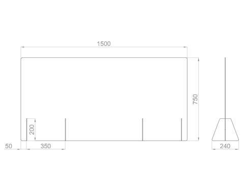 Настольный экран Ш.1500 мм, В.600/750мм