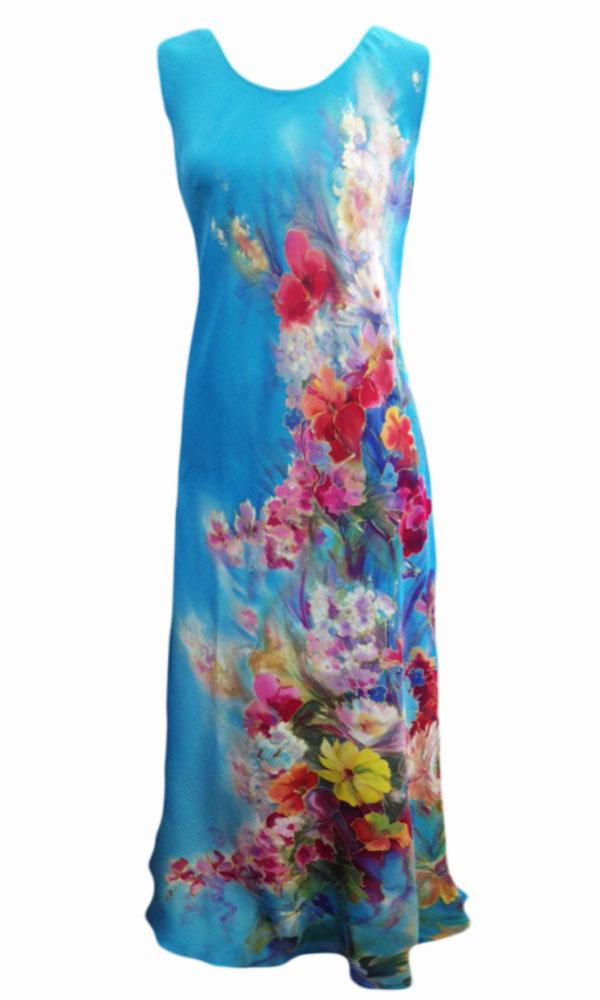 Шелковое платье Крымский букет бирюза P-01
