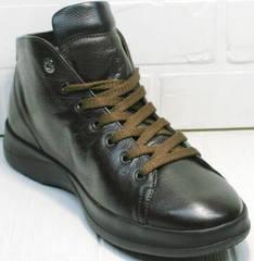 Модные кожаные ботинки кроссовки для ежедневной ходьбы мужские Ikoc 1770-5 B-Brown.