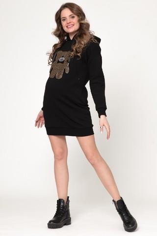 Утепленное платье-туника для беременных и кормящих 11384 черный/принт мишка