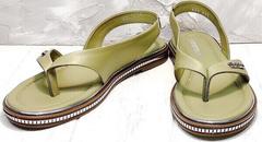 Вьетнамки босоножки натуральная кожа женские Evromoda 454-411 Olive.