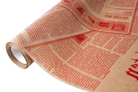 Бумага крафт 40гр/м2, 70см x 10м, Газета, красный