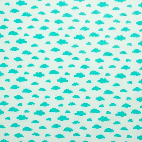 Ткань хлопковая бирюзовые облачка на белом, отрез 50*80 см