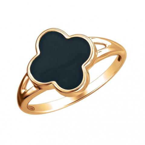 01К0112960Э-Кольцо из золота 585 пробы с эмалью в стиле VCA