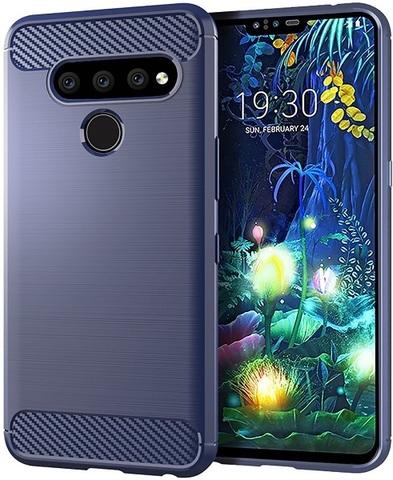Чехол для LG V50 ThinQ цвет Blue (синий), серия Carbon от Caseport
