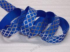 Лента репсовая Серебряная сетка на синем ширина 22 мм