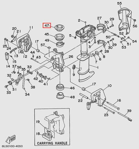 Втулка разрезная верхняя  для лодочного мотора T3S SEA-PRO (15-47)