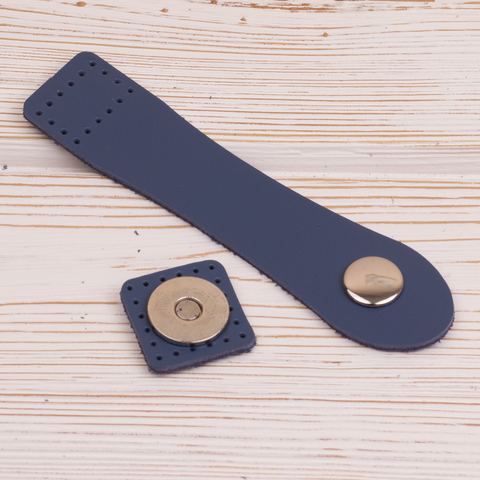 Застежка для сумки Синяя с магнитной кнопкой