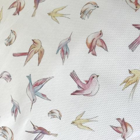 Ткань хлопок пике с эластаном с птицами 2085
