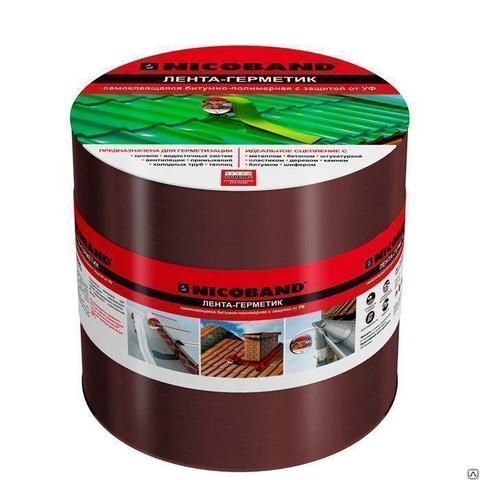 Лента-герметик самоклеящаяся Никобанд 10мх10см коричневый