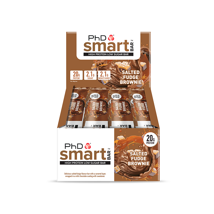 PhD Smart Bar, протеиновый батончик, вкус Соленый Брауни, упаковка 12х64 гр.