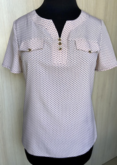 Джемма. Блуза великих розмірів з пояском, короткий рукав. Пудра