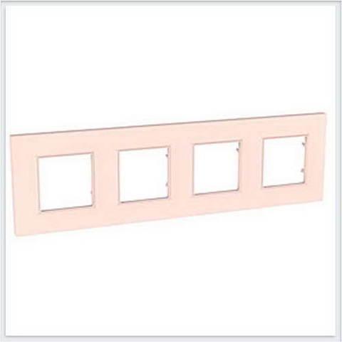 Рамка на 4 поста. Цвет Розовый жемчуг. Schneider Electric Unica Quadro. MGU4.708.37