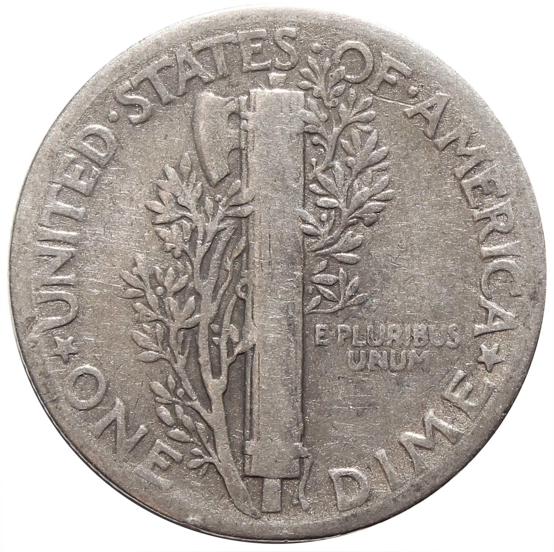 1 дайм (10 центов) 1943. США F-VF (Меркурий) Серебро