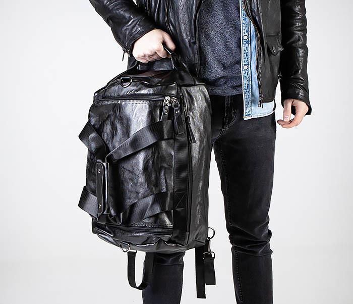 BAG554 Кожаный рюкзак трансформер черного цвета фото 02