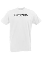 Футболка с принтом Тойота  (Toyota) белая 0001