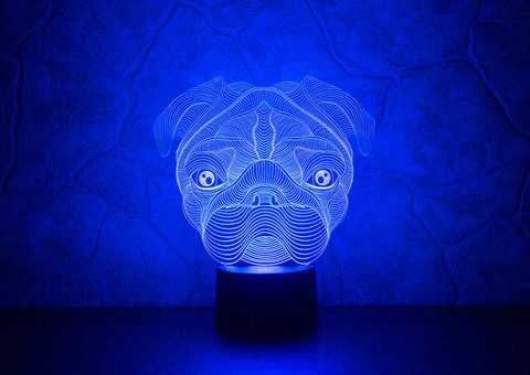 3D ночник Мопс