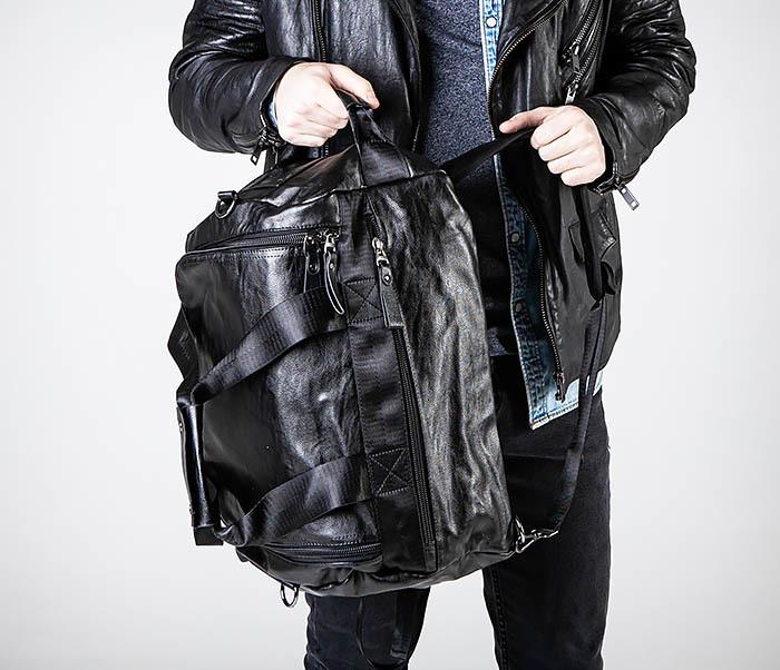 BAG554 Кожаный рюкзак трансформер черного цвета фото 03