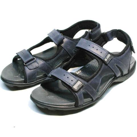 Трекинговые сандалии мужские кожаные. Спортивные сандалии на липучках MiLORD Blue. 42 размер