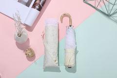 Суперлегкий зонт от солнца, ручка крюк, женский, с защитой от УФ, механика, 6 спиц, гипюровый кант (бежевый, принт- цветы)