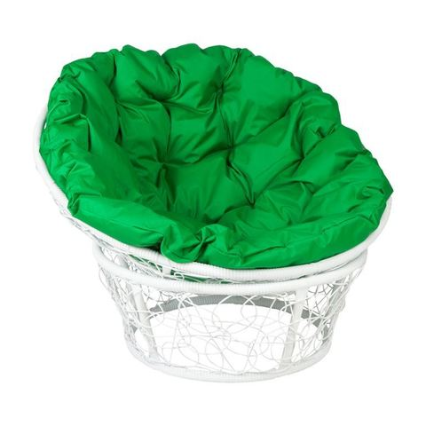 Кресло Papasan, цвет плетения белый, цвет подушки зеленый