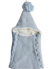 Папитто. Конверт вязаный на пуговицах полушерстяной с подкладкой велсофт, голубой вид 1