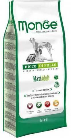15 кг MONGE Сухой корм для собак крупных пород с курицей Dog Maxi Adult