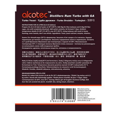 Дрожжи спиртовые Alcotec Rum, 73 г на 25 л