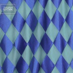 Шифон в бирюзово-голубую клетку с шелком