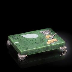 Пепельница Летний сад из зеленого нефрита