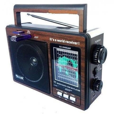 Радиоприемник RX-9966 UAR встроенный аккумулятор MP3/FM/MicroSD/USB/AUX, 220V, (4xR20)