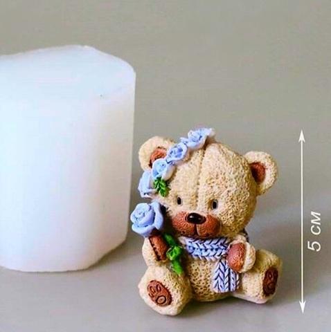 3D МИШКА С ВЕНКОМ силиконовый молд (50*40мм)