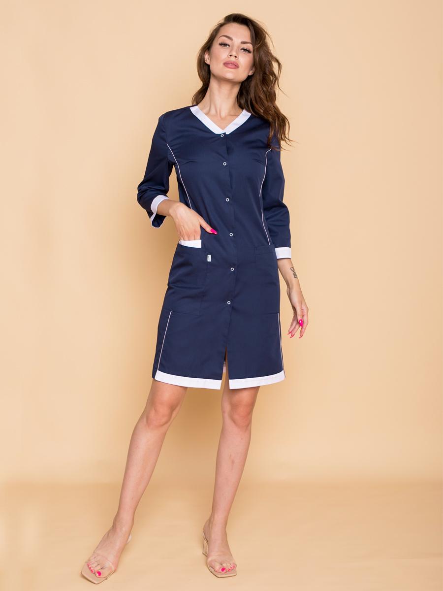 Предлагаем купить женский медицинский халат синего цвета с белой отделкой