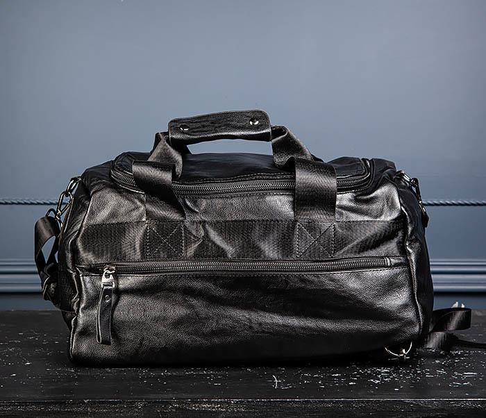 BAG554 Кожаный рюкзак трансформер черного цвета фото 05