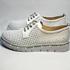 Летние кожаные туфли дерби женские GUERO G177-63 White
