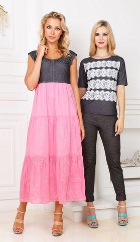 Фото комбинированное платье макси с завышенной талией и воланами - Платье З266а-352 (1)