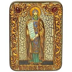Инкрустированная икона Святой равноапостольный Кирилл Философ 20х15см на натуральном дереве, в подарочной коробке