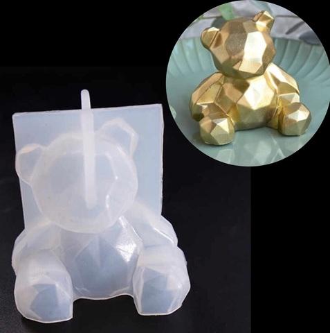 Молд силиконовый 3D  ГЕОМЕТРИЧЕСКИЙ МИШКА тонкий силикон  (75х60мм)