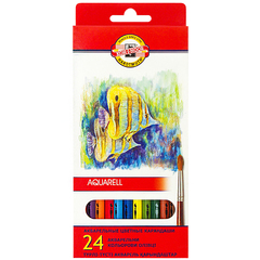 Набор школьных акварельных карандашей FISH 24 цвета в картонной коробке