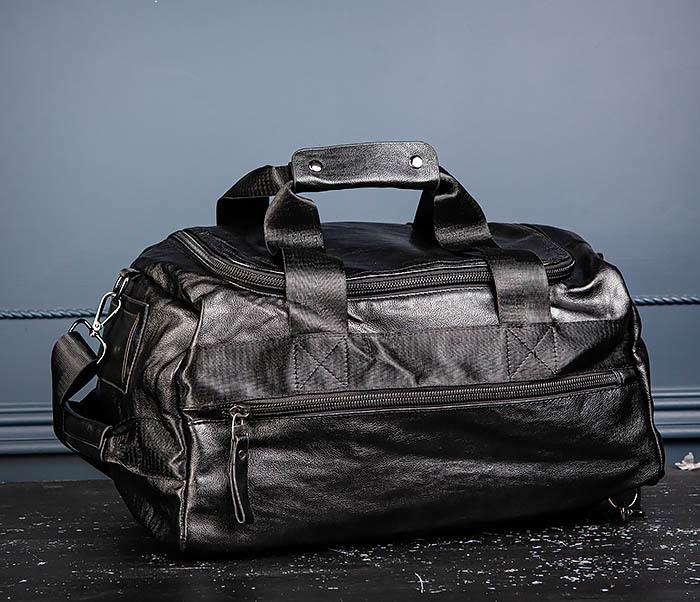 BAG554 Кожаный рюкзак трансформер черного цвета фото 06