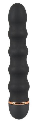 Чёрный вибратор Bendy Wavy с волнами на тельце - 17 см.